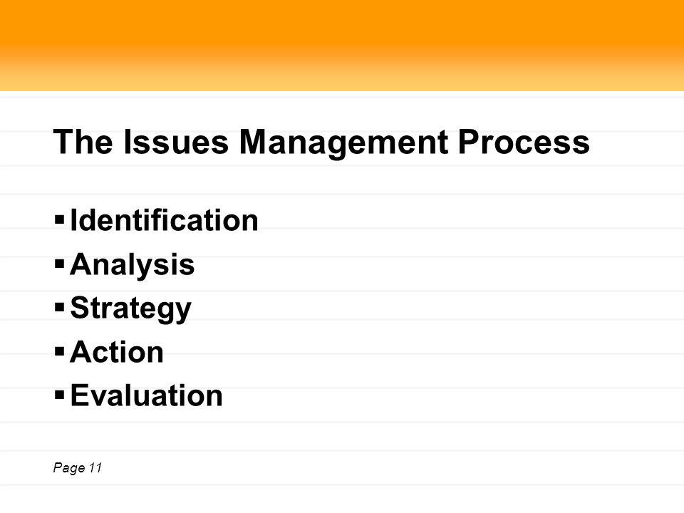Page 11 The Issues Management Process  Identification  Analysis  Strategy  Action  Evaluation