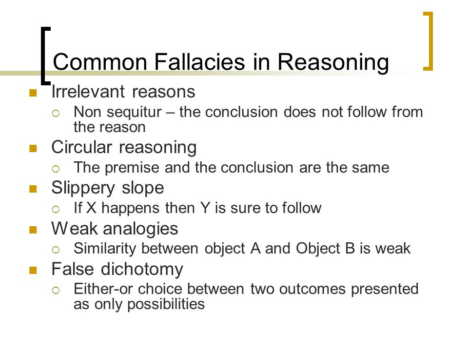 reasoning fallacies essay Fallacies essays: over 180,000 fallacies essays, fallacies term papers, fallacies research paper, book reports 184 990 essays, term and research papers available for unlimited access.