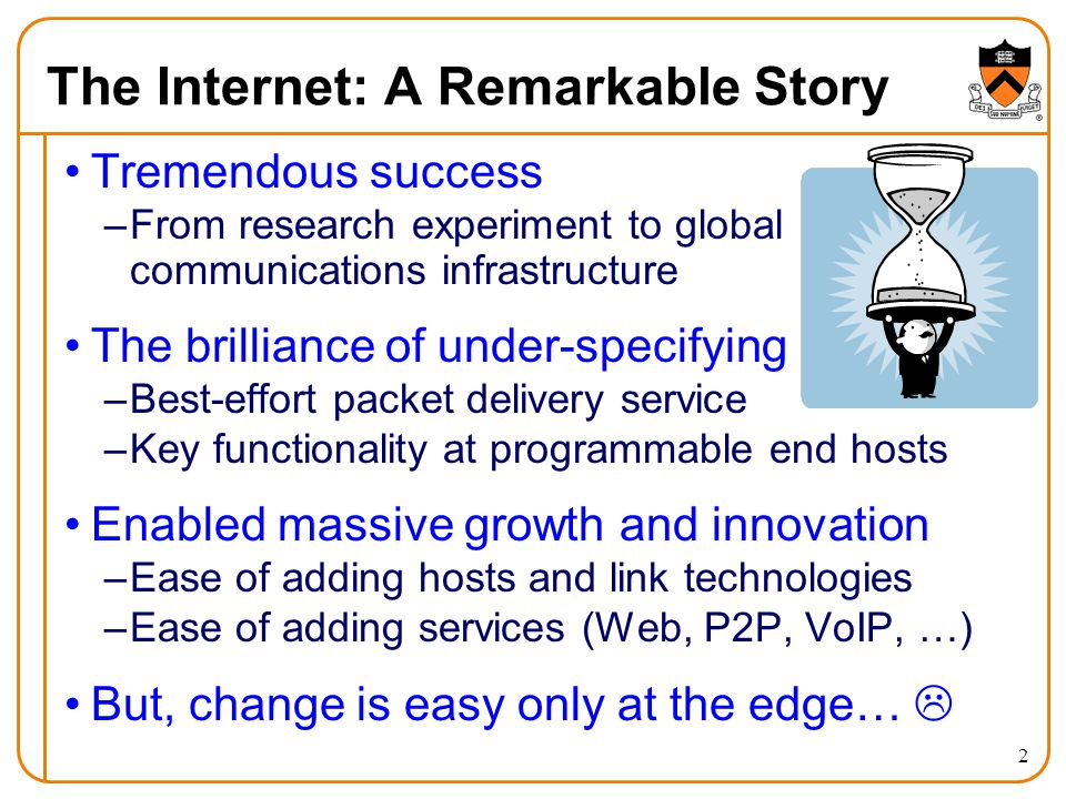 2 The Internet: A Remarkable Story Tremendous success –From research experiment to global communications infrastructure The brilliance of under-specifying –Best-effort packet delivery service –Key functionality at programmable end hosts Enabled massive growth and innovation –Ease of adding hosts and link technologies –Ease of adding services (Web, P2P, VoIP, …) But, change is easy only at the edge… 
