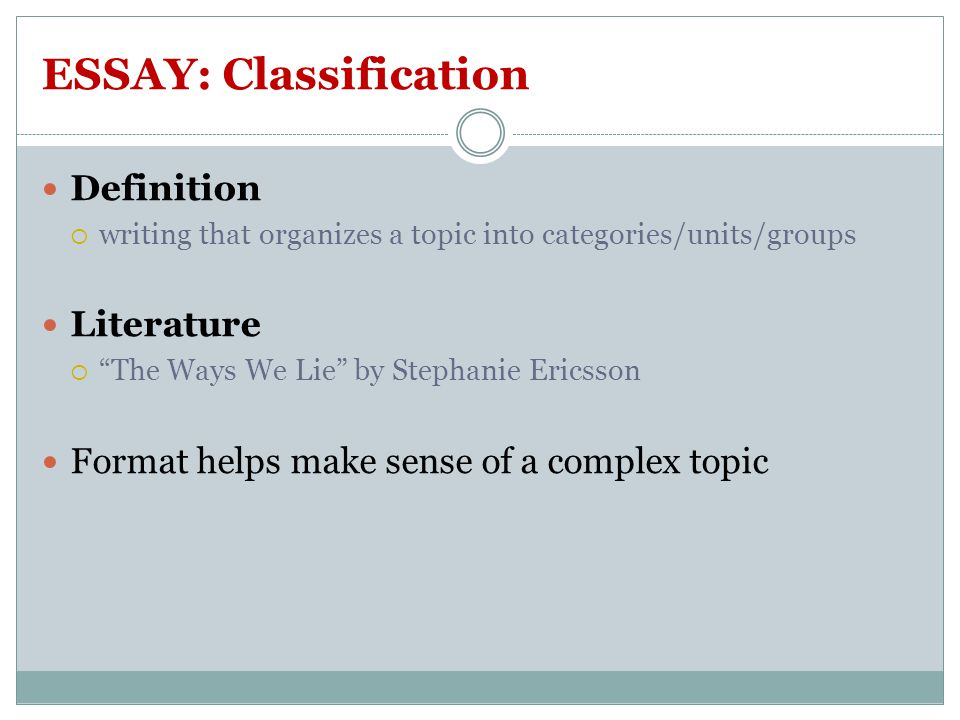 "learning focus question ""what is nonfiction literature its  11 essay classification"