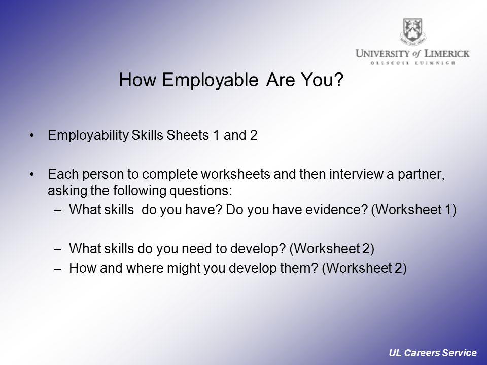 UL Careers Service Career Development Module Skills and Interests – Employability Skills Worksheets