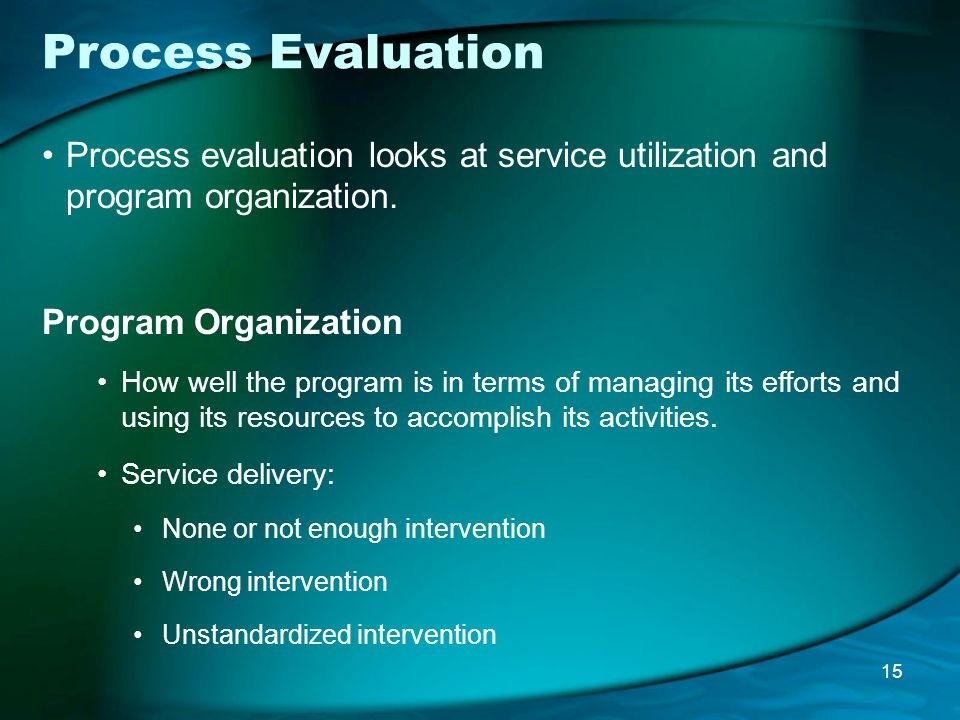 Process Evaluation Process evaluation looks at service utilization and program organization.