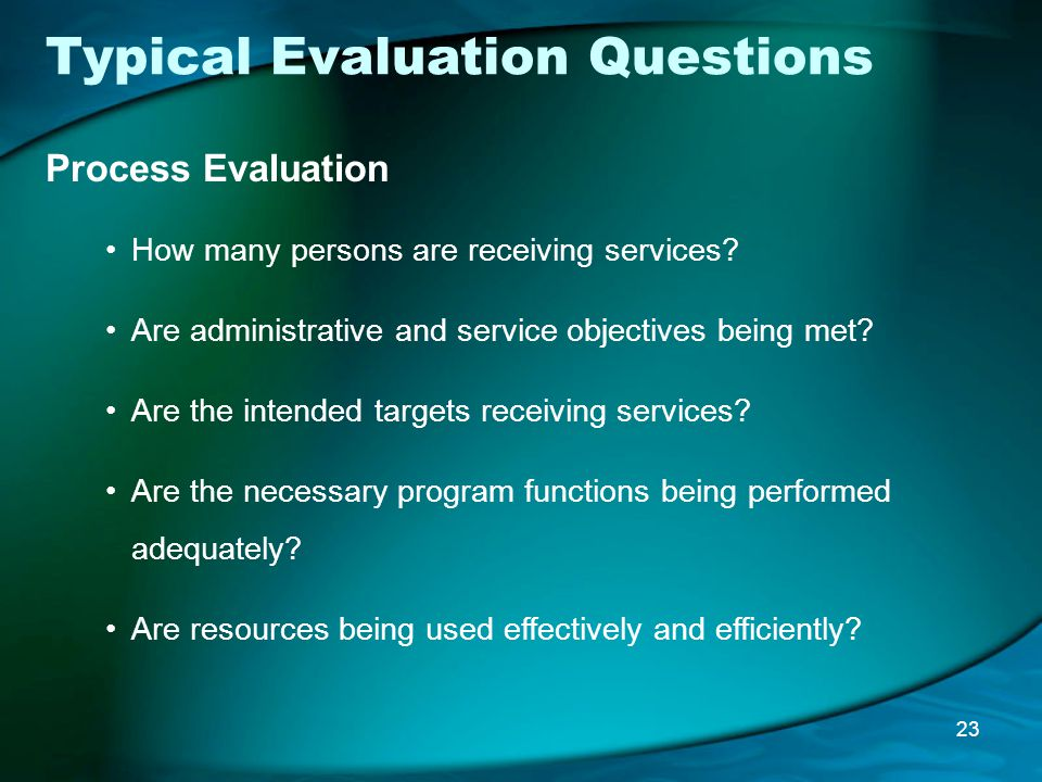 Typical Evaluation Questions Process Evaluation How many persons are receiving services.