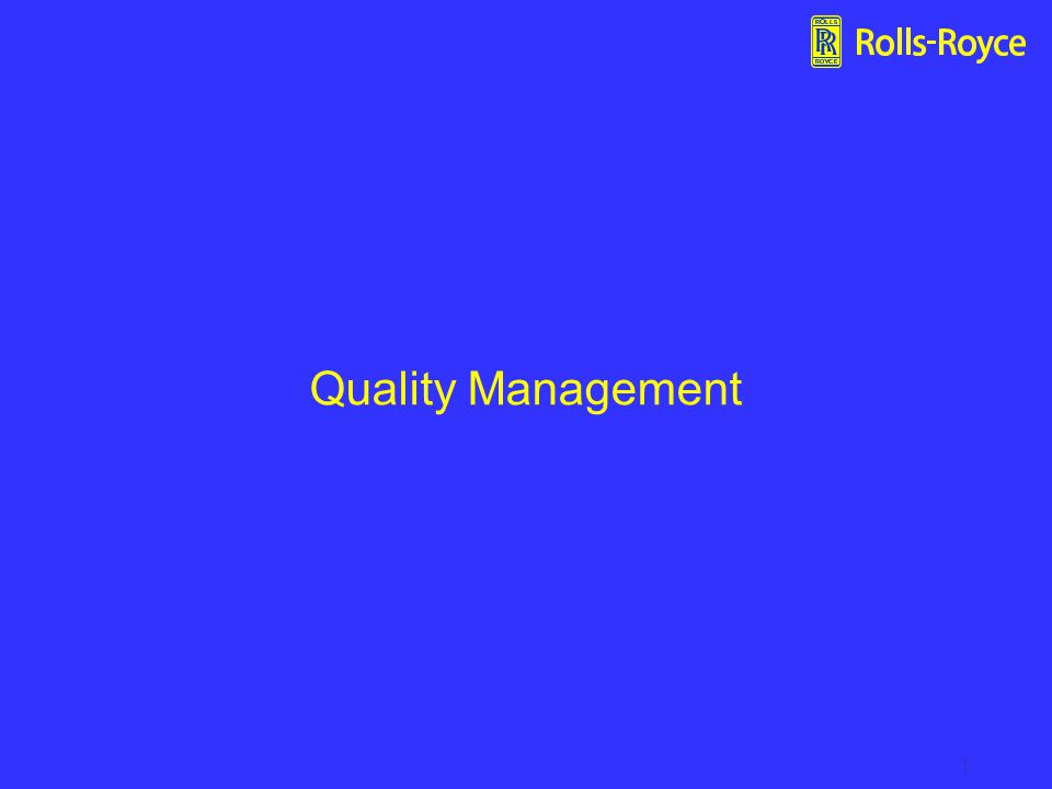 1 Quality Management