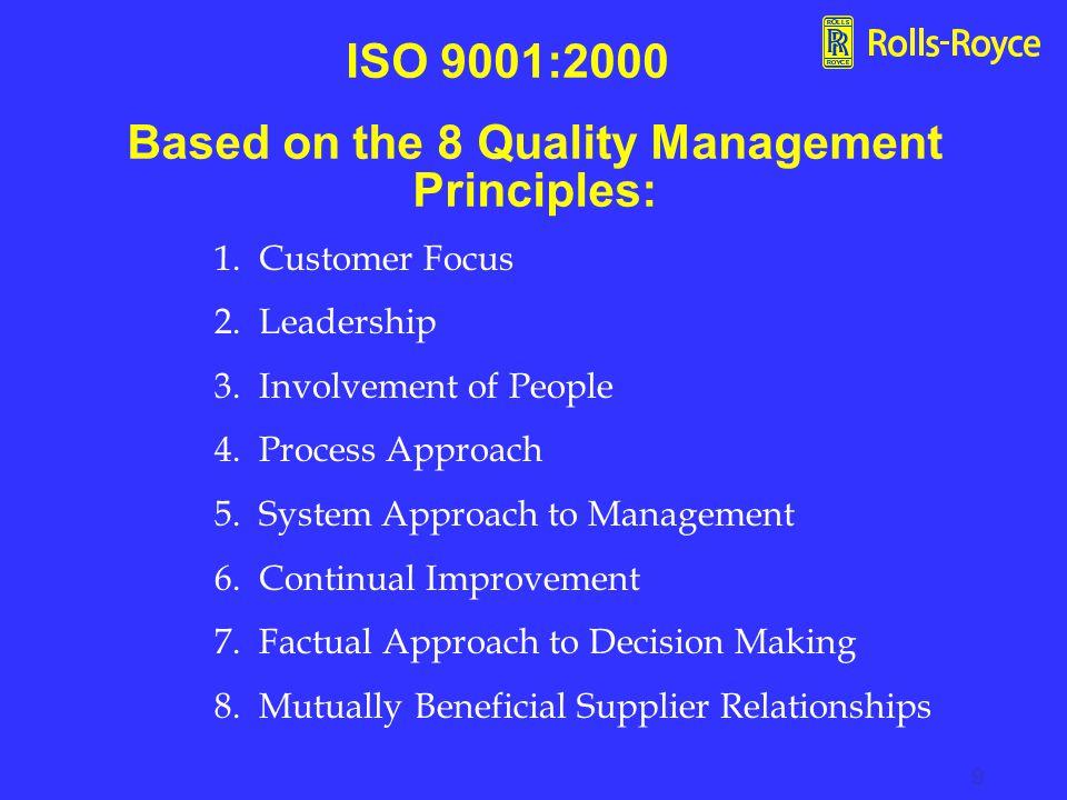 9 1.Customer Focus 2. Leadership 3. Involvement of People 4.