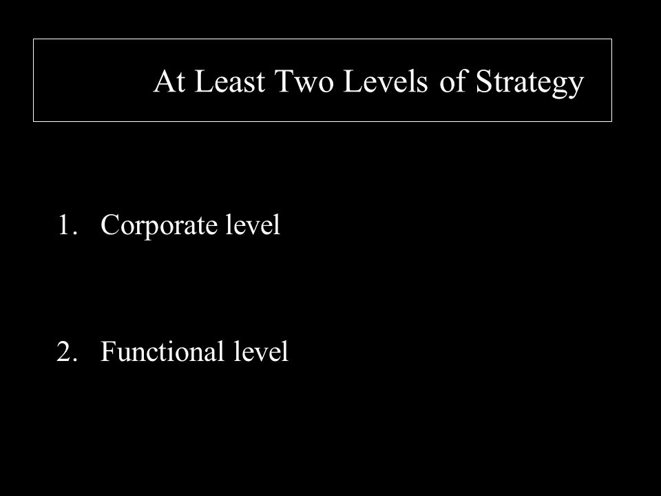 At Least Two Levels of Strategy 1.Corporate level 2.Functional level