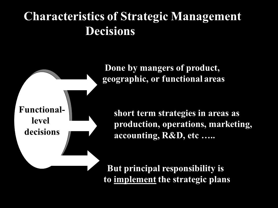 Characteristics of Strategic Management Decisions Functional- level decisions Functional- level decisions Done by mangers of product, geographic, or functional areas short term strategies in areas as production, operations, marketing, accounting, R&D, etc …..