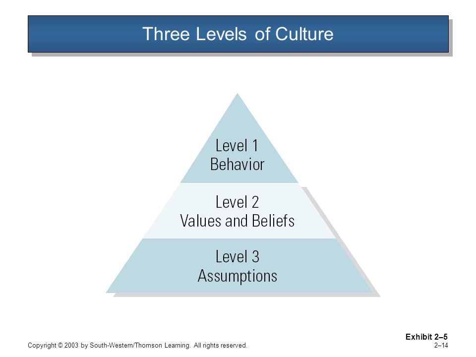 Copyright © 2003 by South-Western/Thomson Learning. All rights reserved. 2–14 Three Levels of Culture Exhibit 2–5