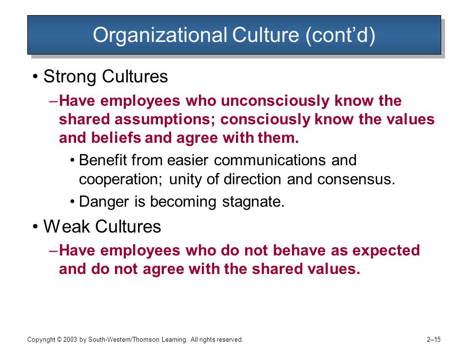 Copyright © 2003 by South-Western/Thomson Learning. All rights reserved. 2–15 Organizational Culture (cont'd) Strong Cultures –Have employees who unco