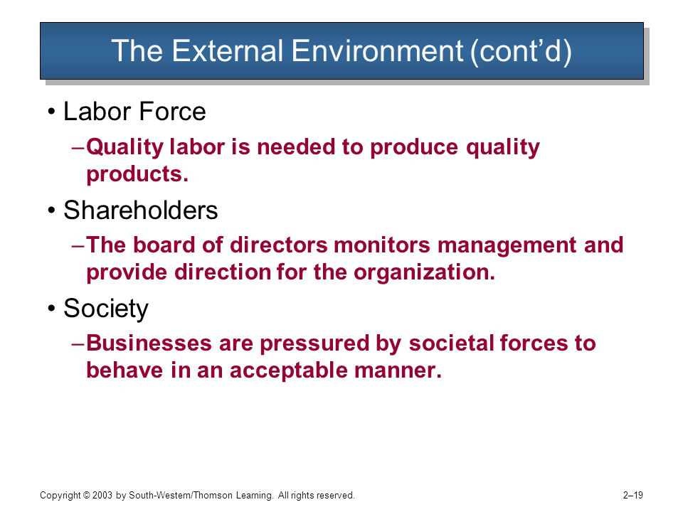 Copyright © 2003 by South-Western/Thomson Learning. All rights reserved. 2–19 The External Environment (cont'd) Labor Force –Quality labor is needed t