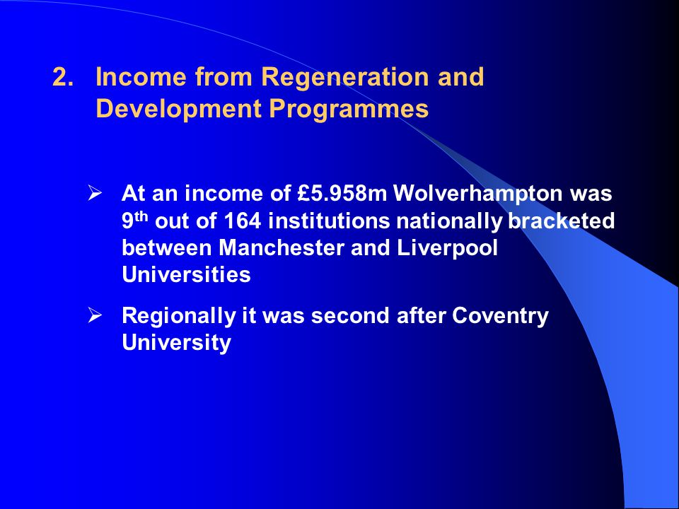 2.Income from Regeneration and Development Programmes  At an income of £5.958m Wolverhampton was 9 th out of 164 institutions nationally bracketed between Manchester and Liverpool Universities  Regionally it was second after Coventry University