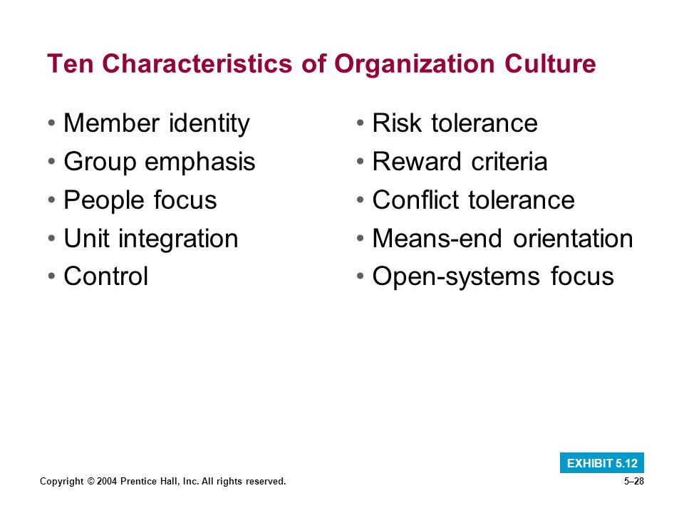 Copyright © 2004 Prentice Hall, Inc. All rights reserved.5–28 Ten Characteristics of Organization Culture Member identity Group emphasis People focus