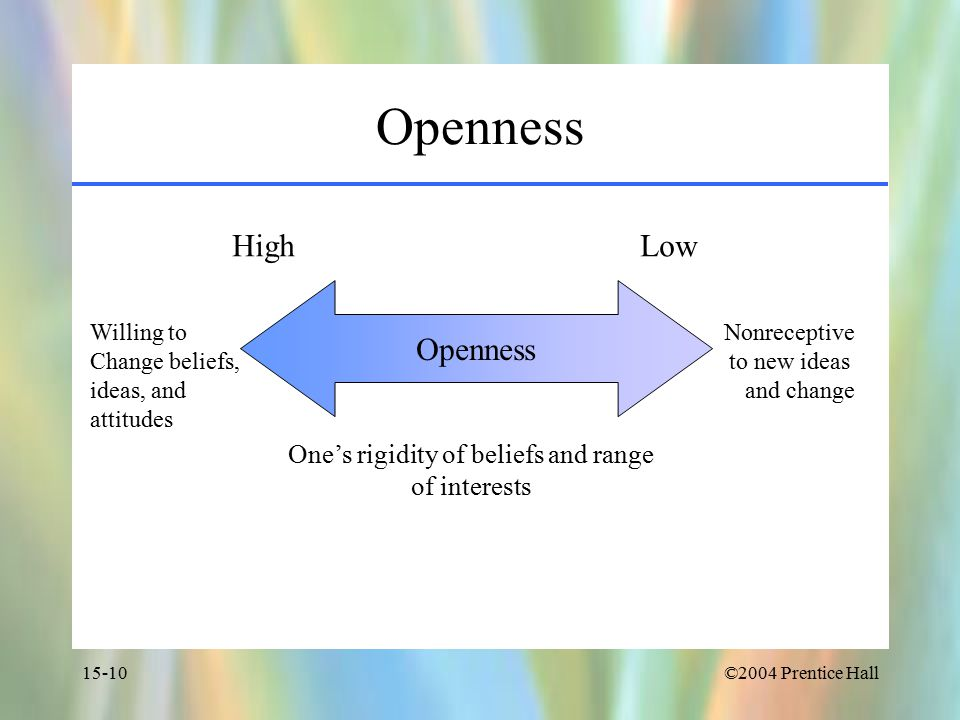 ©2004 Prentice Hall15-10 Openness High Low Willing to Change beliefs, ideas, and attitudes Nonreceptive to new ideas and change One's rigidity of beliefs and range of interests