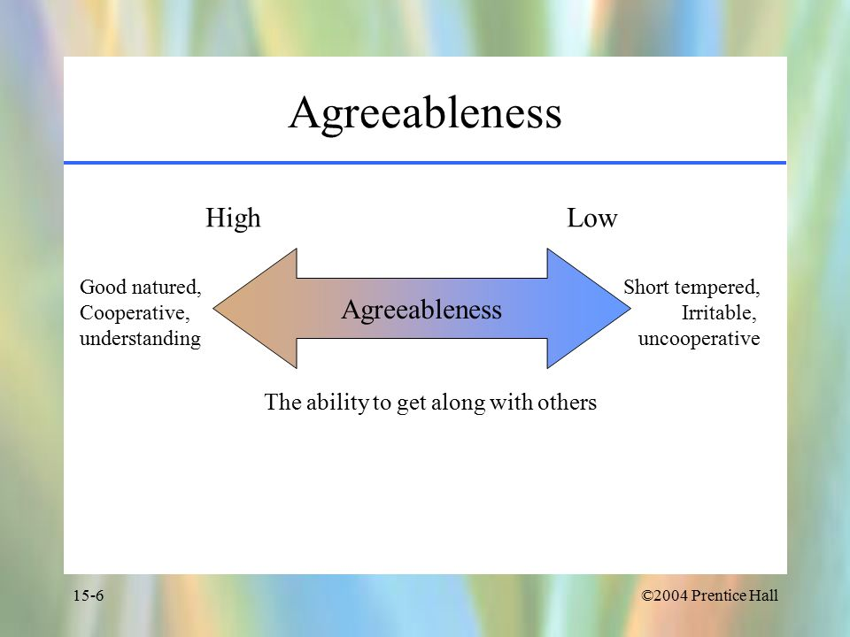 ©2004 Prentice Hall15-6 Agreeableness High Low Good natured, Cooperative, understanding Short tempered, Irritable, uncooperative The ability to get along with others