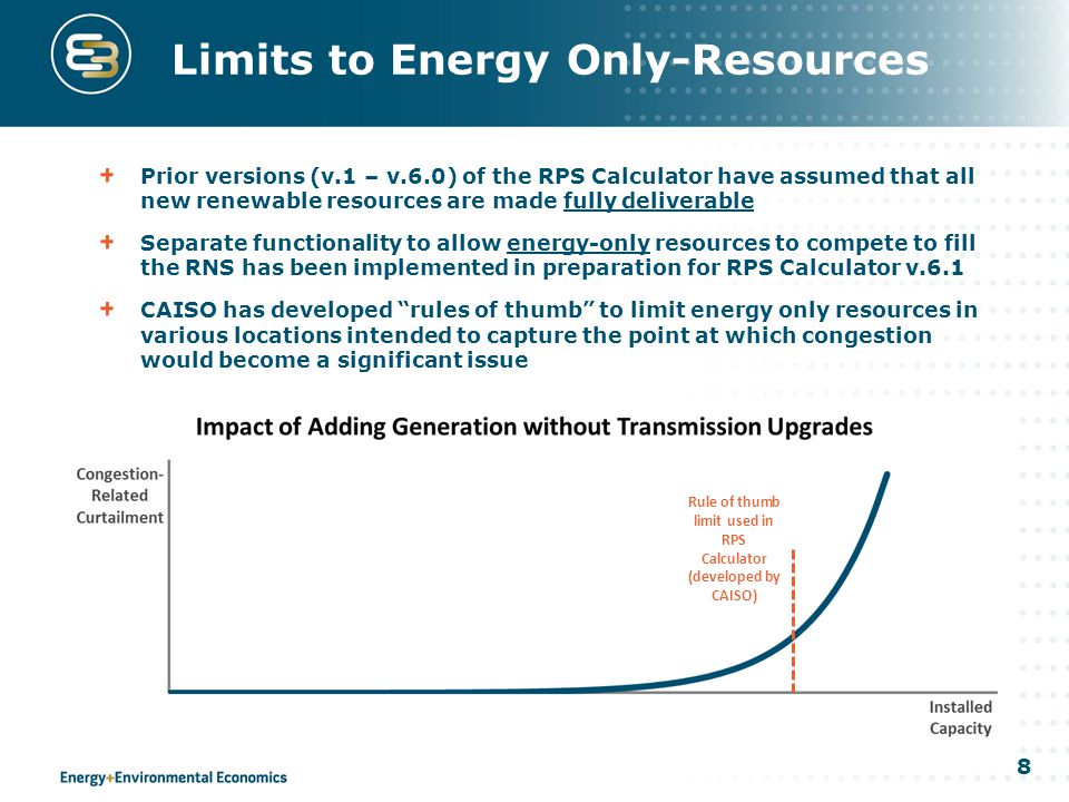 8 Limits to Energy Only-Resources Prior versions (v.1 – v.6.0) of the RPS Calculator have assumed that all new renewable resources are made fully deliverable Separate functionality to allow energy-only resources to compete to fill the RNS has been implemented in preparation for RPS Calculator v.6.1 CAISO has developed rules of thumb to limit energy only resources in various locations intended to capture the point at which congestion would become a significant issue Rule of thumb limit used in RPS Calculator (developed by CAISO)