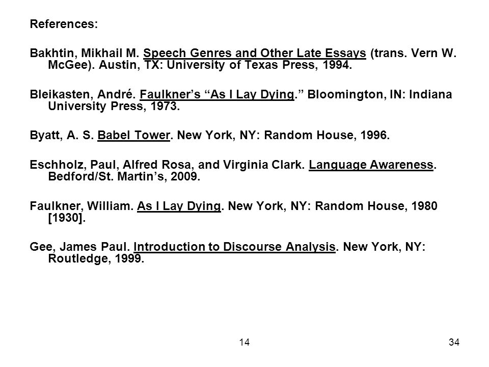 1434 References: Bakhtin, Mikhail M. Speech Genres and Other Late Essays (trans.
