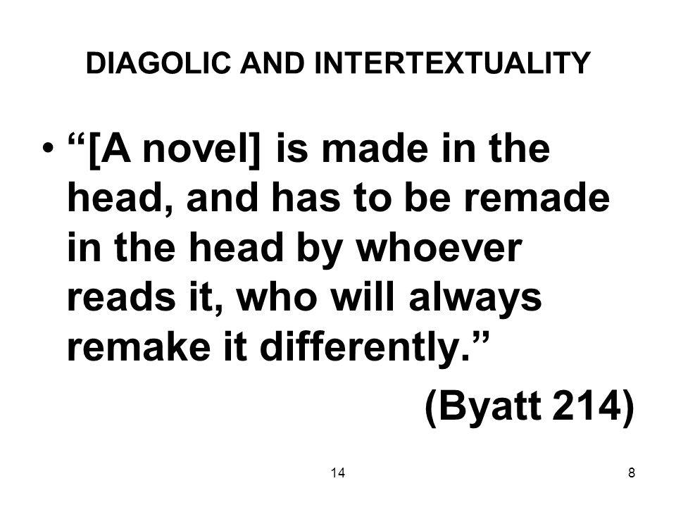 148 DIAGOLIC AND INTERTEXTUALITY [A novel] is made in the head, and has to be remade in the head by whoever reads it, who will always remake it differently. (Byatt 214)