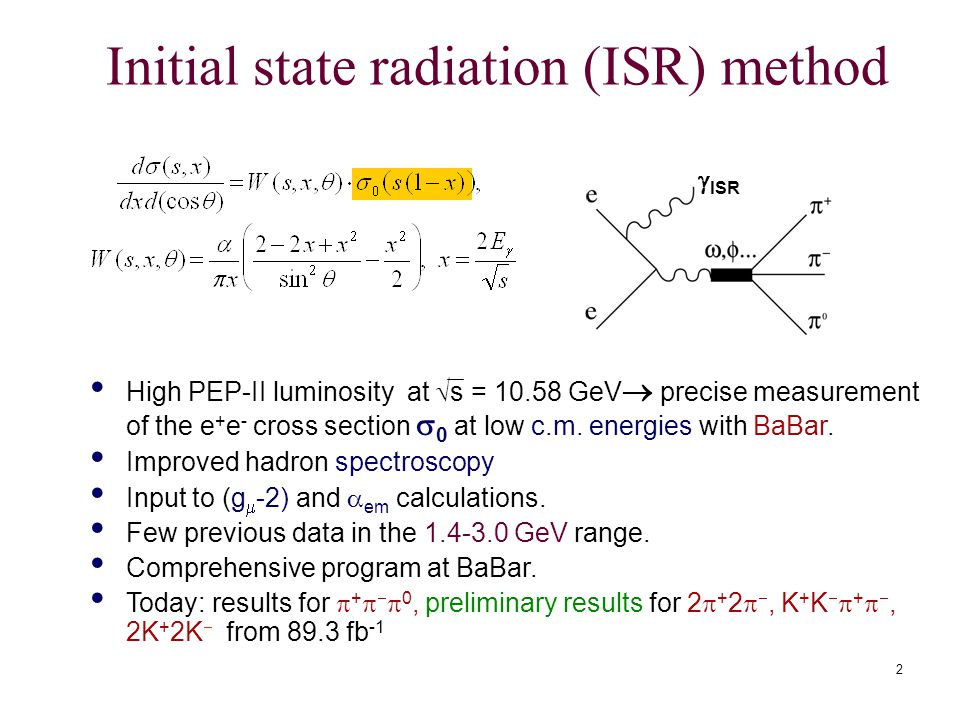 2 Initial state radiation (ISR) method High PEP-II luminosity at  s = GeV  precise measurement of the e + e - cross section  0 at low c.m.