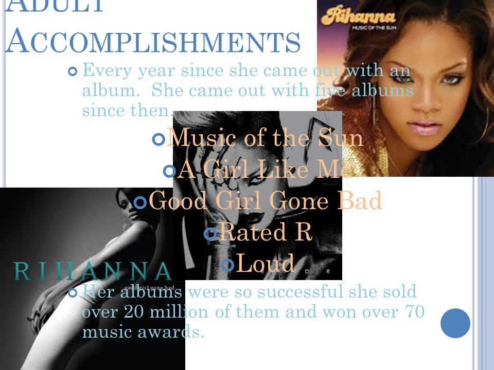 A DULT A CCOMPLISHMENTS Every year since she came out with an album.