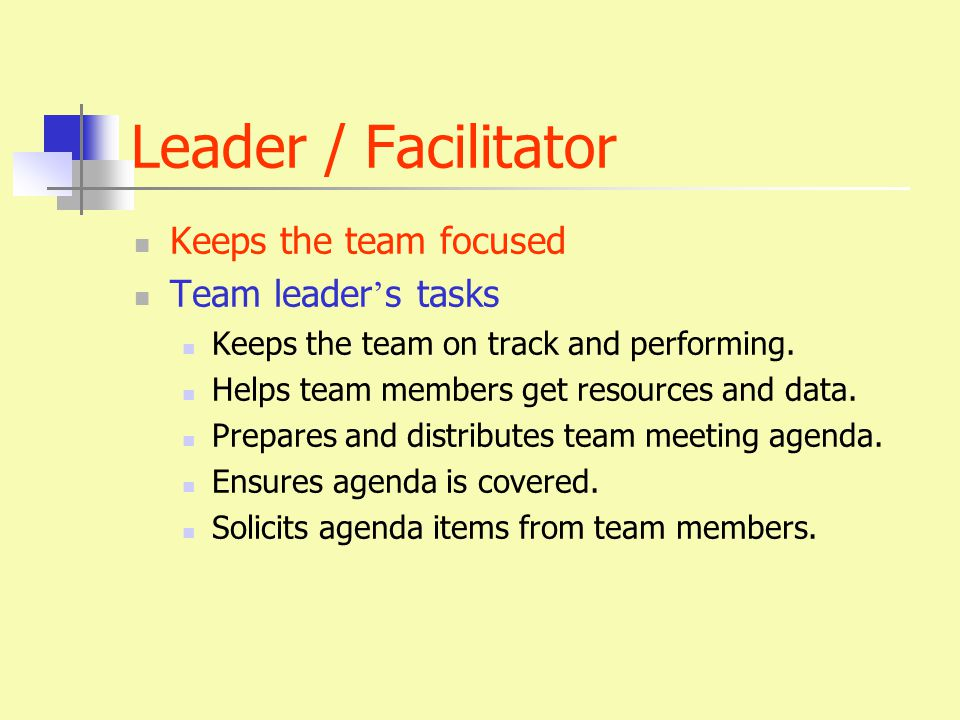 Leader / Facilitator Keeps the team focused Team leader ' s tasks Keeps the team on track and performing.