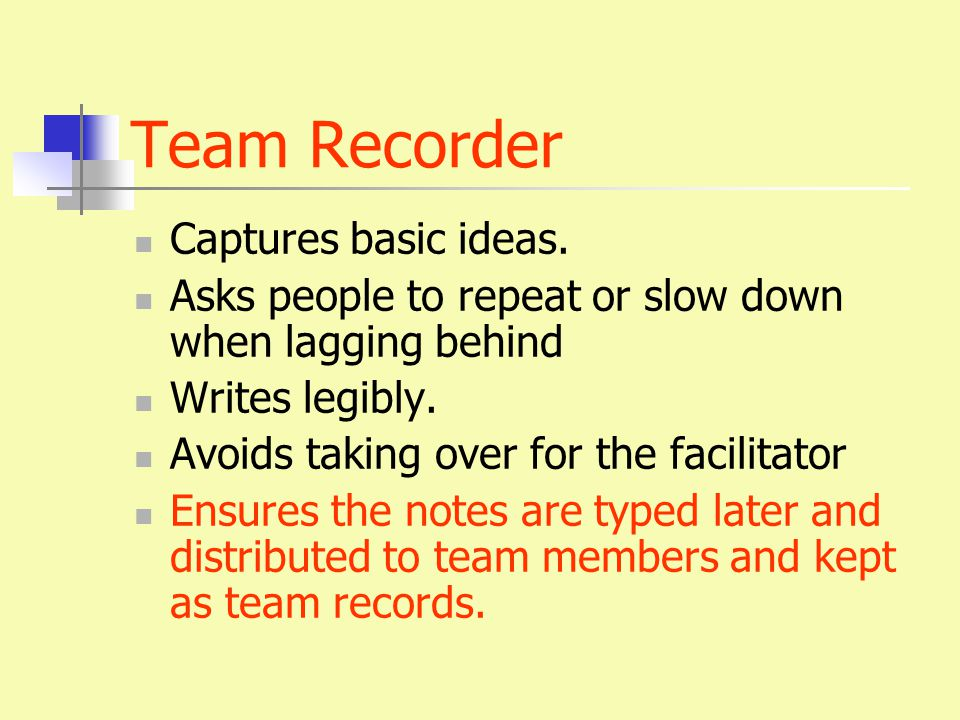 Team Recorder Captures basic ideas.