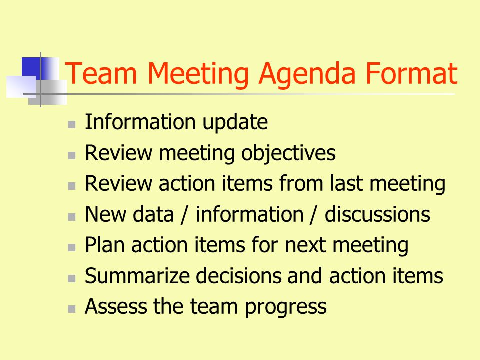 Team Meeting Agenda Format Information update Review meeting objectives Review action items from last meeting New data / information / discussions Plan action items for next meeting Summarize decisions and action items Assess the team progress