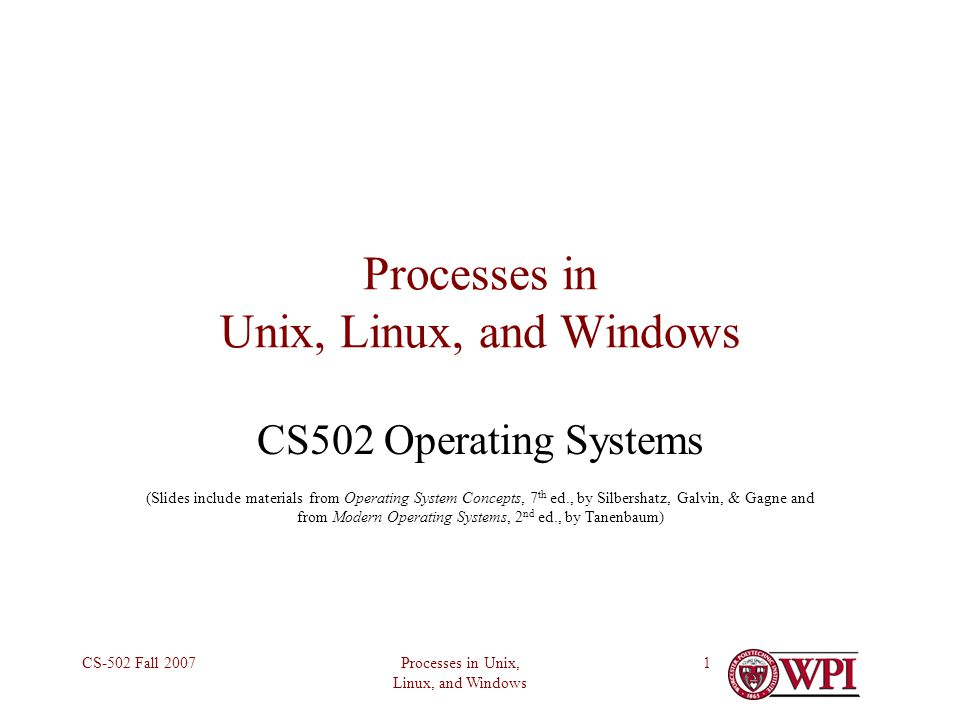 Processes in Unix, Linux, and Windows CS-502 Fall Processes in Unix, Linux, and Windows CS502 Operating Systems (Slides include materials from Operating System Concepts, 7 th ed., by Silbershatz, Galvin, & Gagne and from Modern Operating Systems, 2 nd ed., by Tanenbaum)