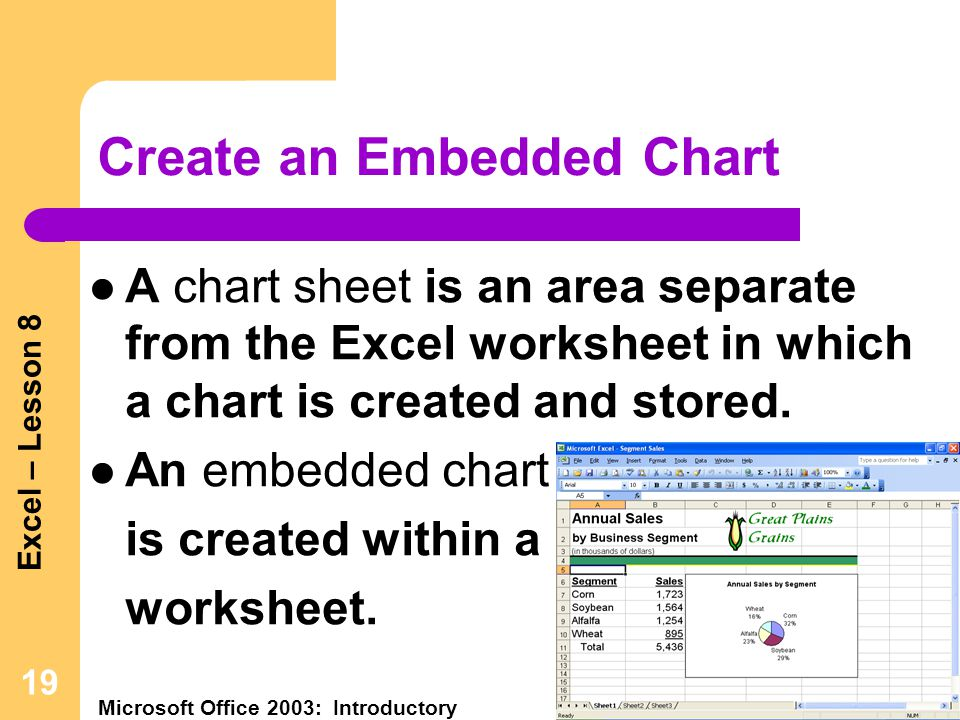 Excel – Lesson 8 Microsoft Office 2003: Introductory Pasewark & Pasewark 19 Create an Embedded Chart A chart sheet is an area separate from the Excel worksheet in which a chart is created and stored.