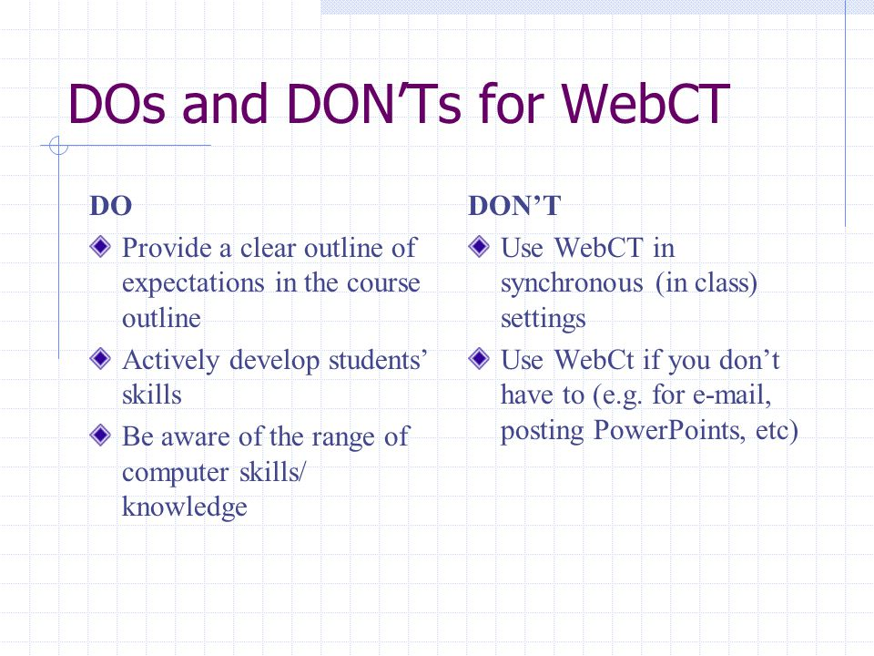 DOs and DON'Ts for WebCT DO Provide a clear outline of expectations in the course outline Actively develop students' skills Be aware of the range of computer skills/ knowledge DON'T Use WebCT in synchronous (in class) settings Use WebCt if you don't have to (e.g.
