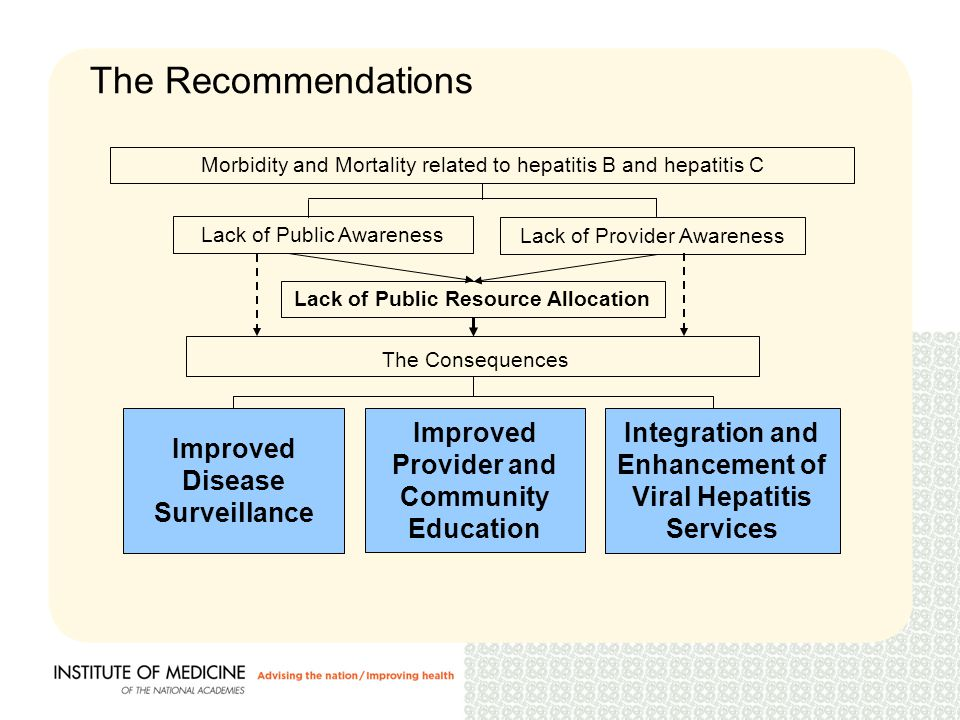 The Recommendations Lack of Public Awareness Lack of Provider Awareness Lack of Public Resource Allocation Morbidity and Mortality related to hepatitis B and hepatitis C The Consequences Improved Provider and Community Education Integration and Enhancement of Viral Hepatitis Services Improved Disease Surveillance