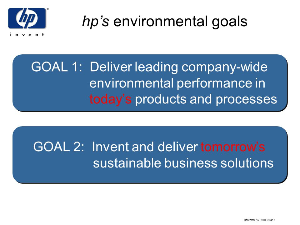 December 15, 2000 Slide 7 hp's environmental goals GOAL 2: Invent and deliver tomorrow's sustainable business solutions GOAL 2: Invent and deliver tomorrow's sustainable business solutions GOAL 1: Deliver leading company-wide environmental performance in today's products and processes
