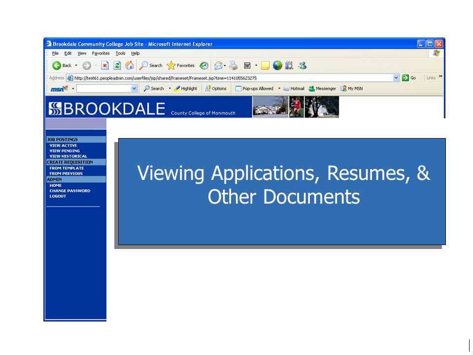 Viewing Applications, Resumes, & Other Documents