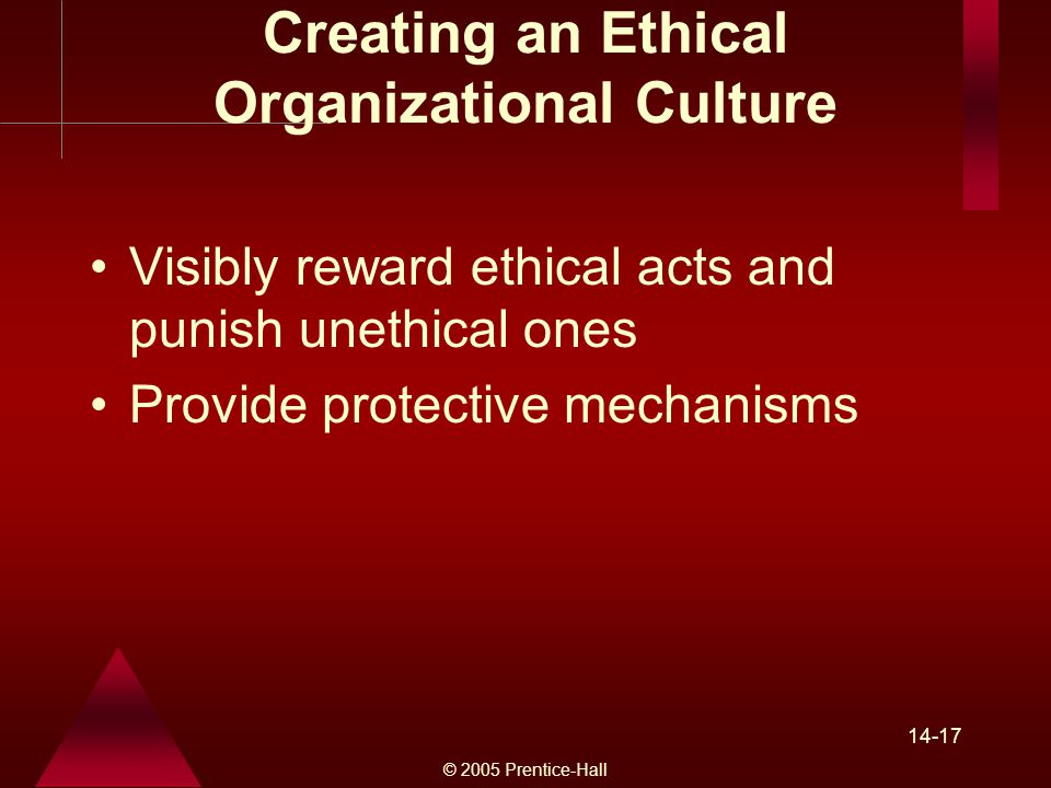 © 2005 Prentice-Hall Creating an Ethical Organizational Culture Visibly reward ethical acts and punish unethical ones Provide protective mechanisms