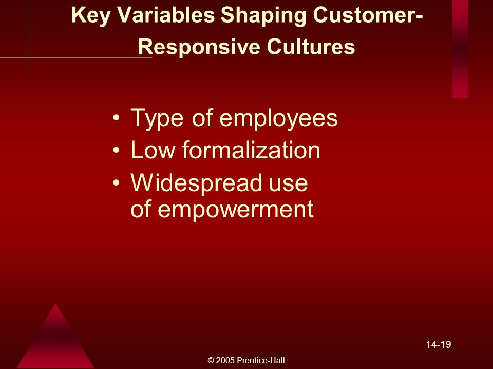 © 2005 Prentice-Hall Key Variables Shaping Customer- Responsive Cultures Type of employees Low formalization Widespread use of empowerment