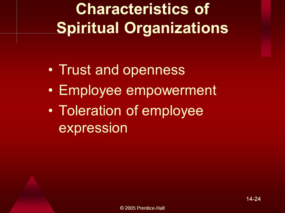 © 2005 Prentice-Hall Characteristics of Spiritual Organizations Trust and openness Employee empowerment Toleration of employee expression
