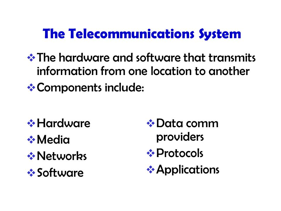The Telecommunications System  The hardware and software that transmits information from one location to another  Components include:  Hardware  Media  Networks  Software  Data comm providers  Protocols  Applications