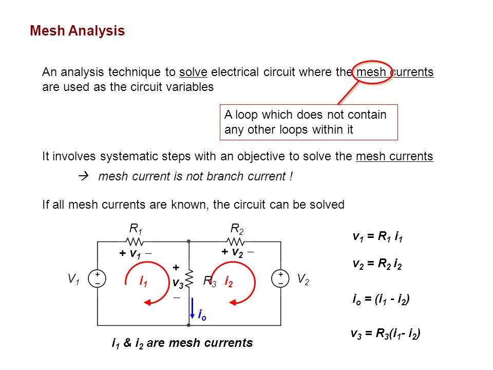 Mesh Analysis An analysis technique to solve electrical circuit where the mesh currents are used as the circuit variables It involves systematic steps with an objective to solve the mesh currents If all mesh currents are known, the circuit can be solved A loop which does not contain any other loops within it i2i2 i1i1 v 1 = R 1 i 1 R3R3 R1R1 R2R2 V1V1 V2V2 + v 1  +v3+v3 v 3 = R 3 (i 1 - i 2 ) v 2 = R 2 i 2 + v 2  ioio i o = (i 1 - i 2 )  mesh current is not branch current .