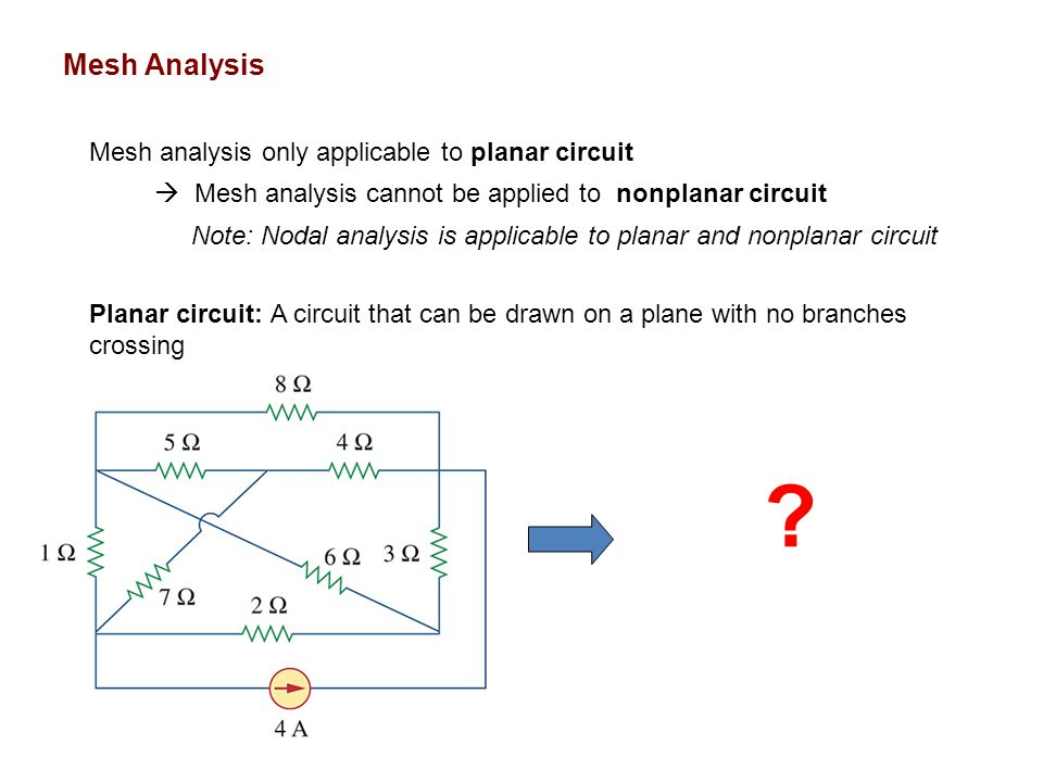 Mesh Analysis Mesh analysis only applicable to planar circuit  Mesh analysis cannot be applied to nonplanar circuit Note: Nodal analysis is applicable to planar and nonplanar circuit Planar circuit: A circuit that can be drawn on a plane with no branches crossing