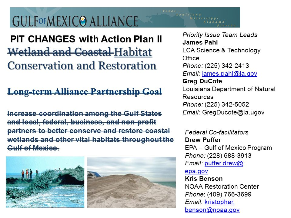 Wetland and Coastal Habitat Conservation and Restoration Long-term Alliance Partnership Goal Increase coordination among the Gulf States and local, federal, business, and non-profit partners to better conserve and restore coastal wetlands and other vital habitats throughout the Gulf of Mexico.