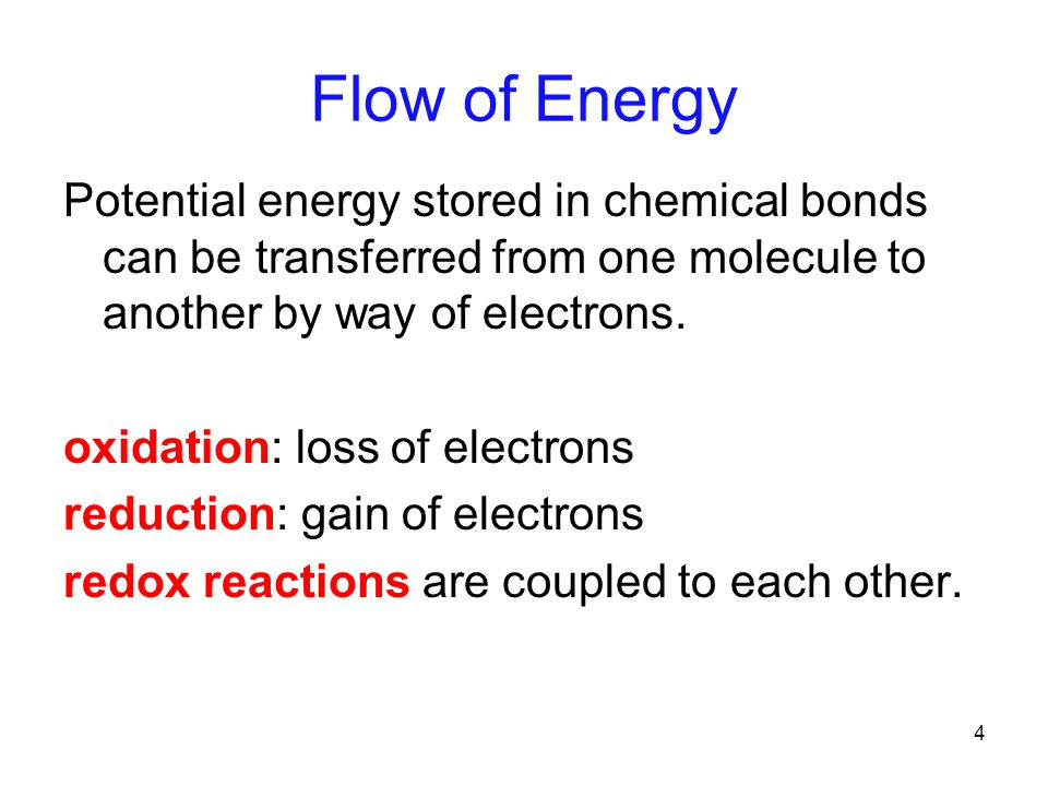 4 Flow of Energy Potential energy stored in chemical bonds can be transferred from one molecule to another by way of electrons.