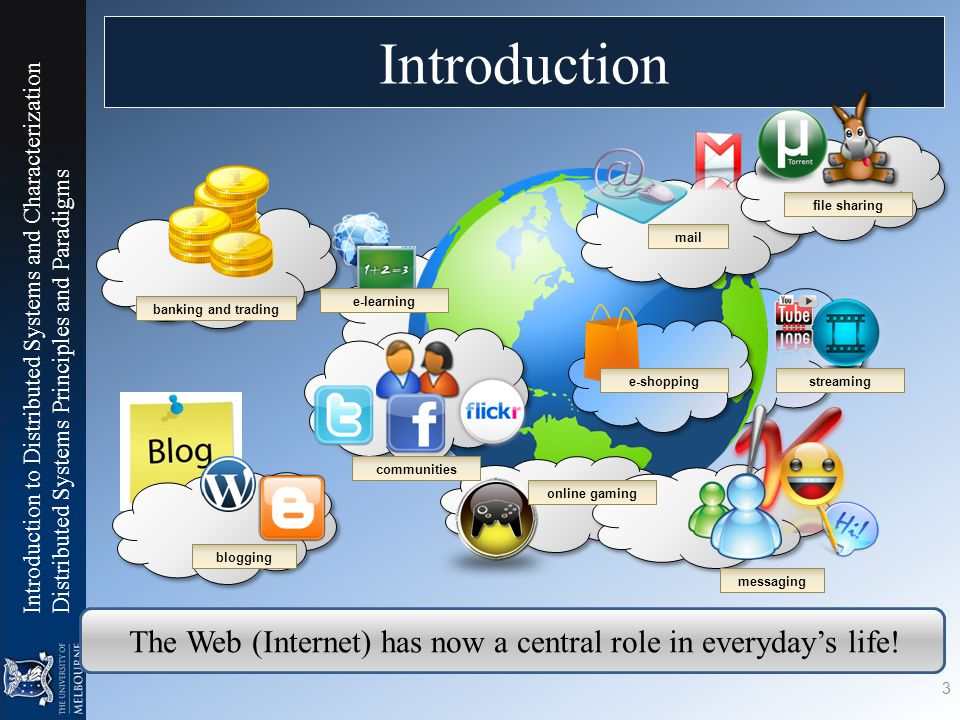Introduction to Distributed Systems and Characterization Distributed Systems Principles and Paradigms Introduction 3 blogging messaging online gaming e-shopping mail e-learning file sharing streaming banking and trading communities The Web (Internet) has now a central role in everyday's life!