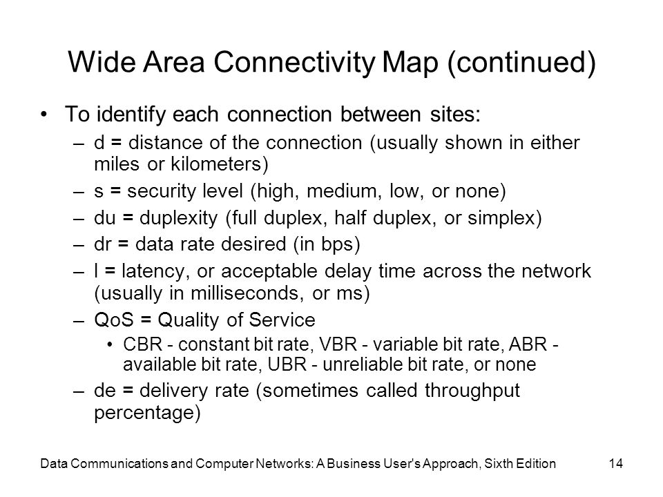 Data Communications and Computer Networks: A Business User s Approach, Sixth Edition14 Wide Area Connectivity Map (continued) To identify each connection between sites: –d = distance of the connection (usually shown in either miles or kilometers) –s = security level (high, medium, low, or none) –du = duplexity (full duplex, half duplex, or simplex) –dr = data rate desired (in bps) –l = latency, or acceptable delay time across the network (usually in milliseconds, or ms) –QoS = Quality of Service CBR - constant bit rate, VBR - variable bit rate, ABR - available bit rate, UBR - unreliable bit rate, or none –de = delivery rate (sometimes called throughput percentage)