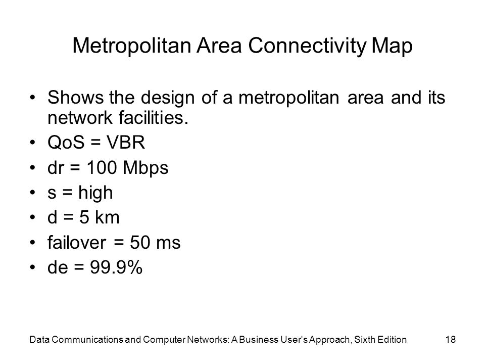 Data Communications and Computer Networks: A Business User s Approach, Sixth Edition18 Metropolitan Area Connectivity Map Shows the design of a metropolitan area and its network facilities.