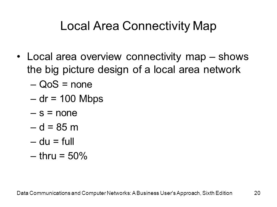 Data Communications and Computer Networks: A Business User s Approach, Sixth Edition20 Local Area Connectivity Map Local area overview connectivity map – shows the big picture design of a local area network –QoS = none –dr = 100 Mbps –s = none –d = 85 m –du = full –thru = 50%