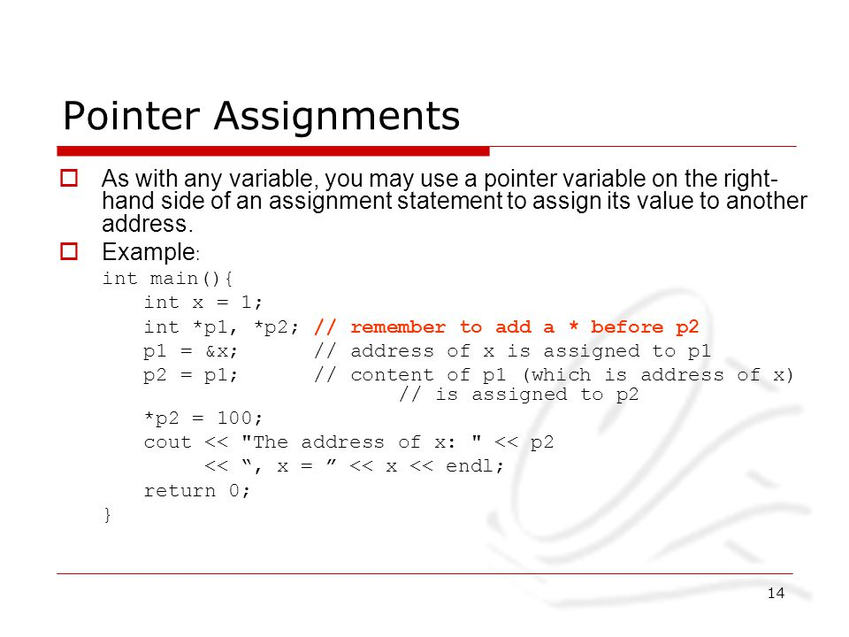 Null pointer assignment