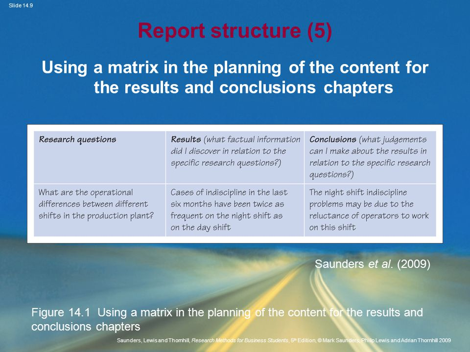 Slide 14.9 Saunders, Lewis and Thornhill, Research Methods for Business Students, 5 th Edition, © Mark Saunders, Philip Lewis and Adrian Thornhill 2009 Report structure (5) Using a matrix in the planning of the content for the results and conclusions chapters Saunders et al.