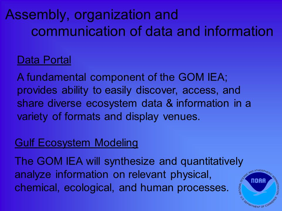 Assembly, organization and communication of data and information Data Portal A fundamental component of the GOM IEA; provides ability to easily discover, access, and share diverse ecosystem data & information in a variety of formats and display venues.
