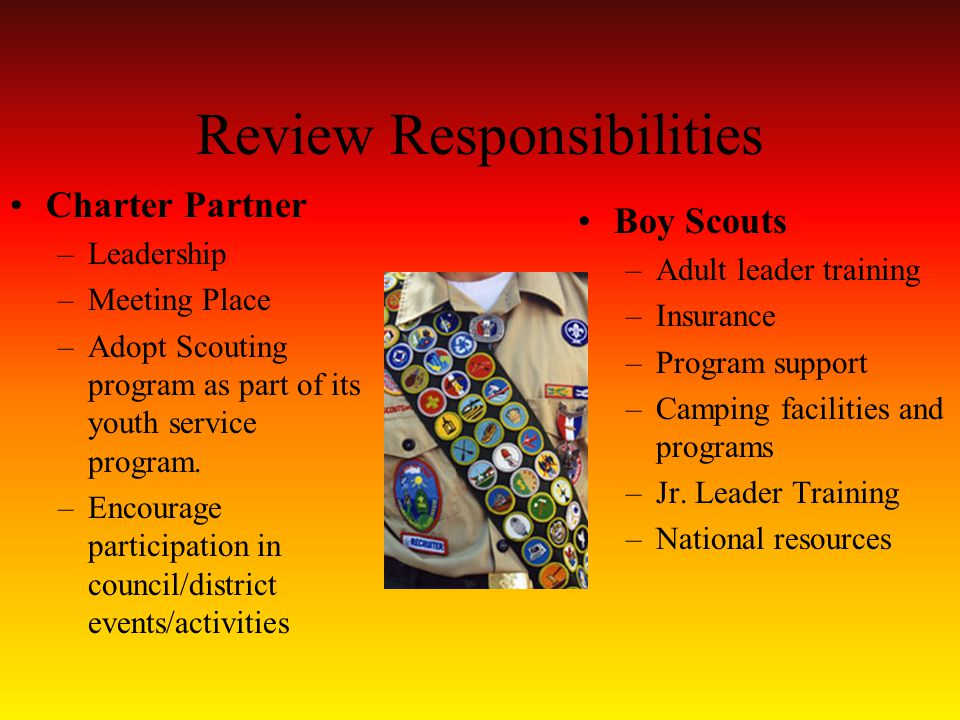 Review Responsibilities Charter Partner –Leadership –Meeting Place –Adopt Scouting program as part of its youth service program.
