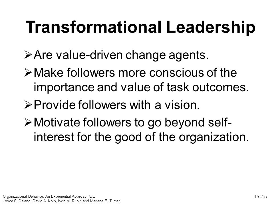 Transformational Leadership  Are value-driven change agents.