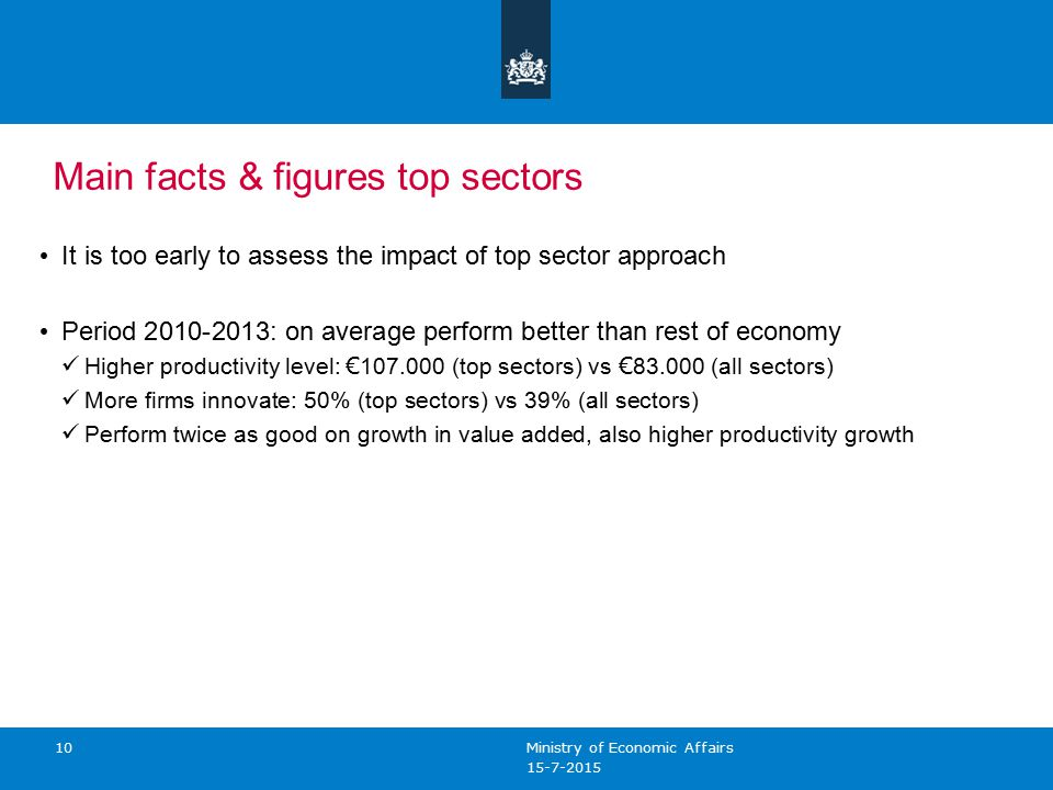 10 Main facts & figures top sectors It is too early to assess the impact of top sector approach Period : on average perform better than rest of economy Higher productivity level: € (top sectors) vs € (all sectors) More firms innovate: 50% (top sectors) vs 39% (all sectors) Perform twice as good on growth in value added, also higher productivity growth Ministry of Economic Affairs